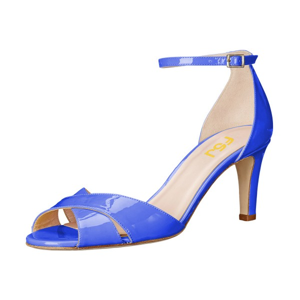 Women's  Blue-violet Ankle Strap Sandals Peep Toe Stiletto Heels image 1