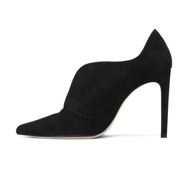 Black Stiletto Boots Suede Pointy Toe Heeled Booties for Work image 4