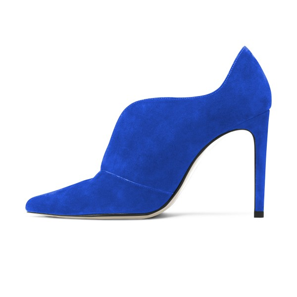 Royal Blue Stiletto Boots Suede Pointy Toe Ankle Booties image 4