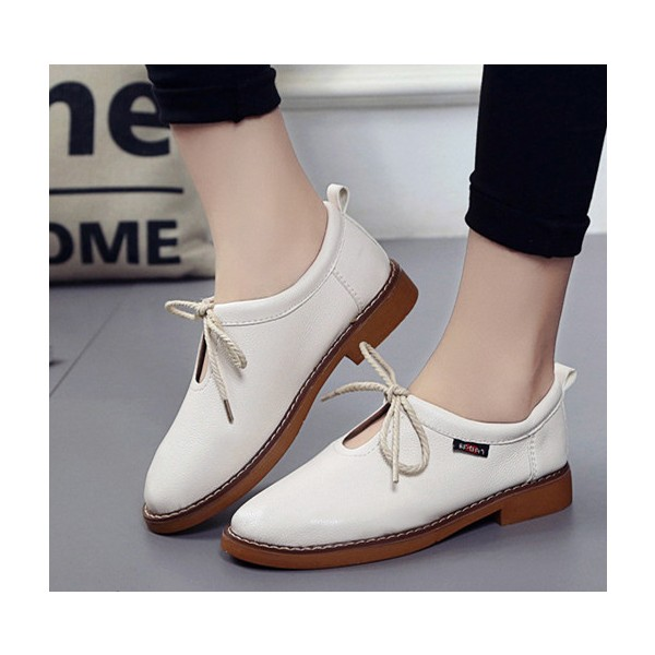 Ivory Vintage Shoes Round Toe Lace up Comfortable Flats image 1