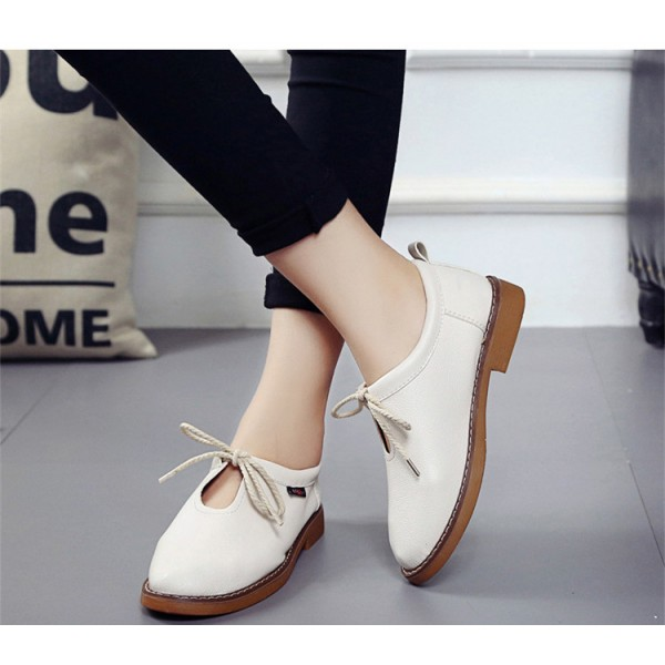 Ivory Vintage Shoes Round Toe Lace up Comfortable Flats image 2