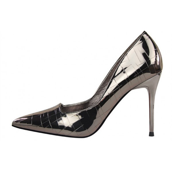 Dark Grey Office Heels Patent Leather Pointy Toe Stilettos Pumps image 2