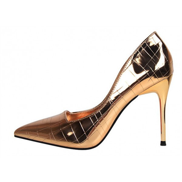 Champagne Metallic Heels Pointy Toe Stiletto Heel Pumps for Work image 1