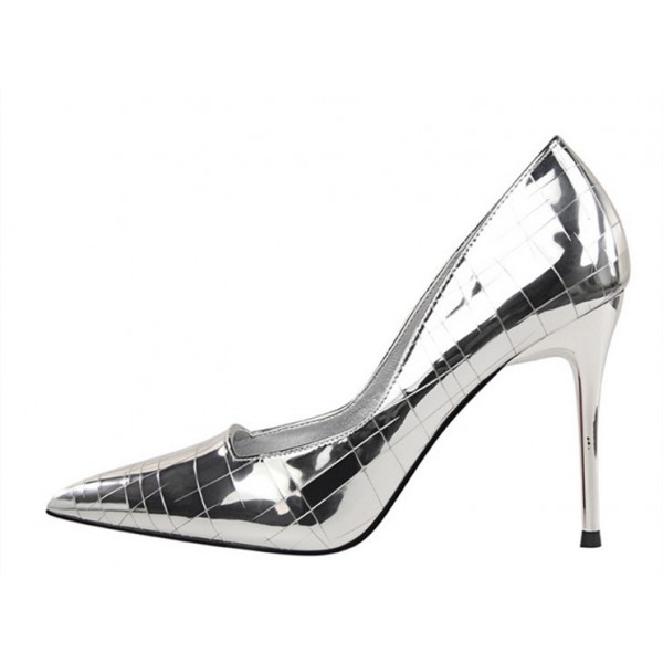 Silver Metallic Heels Pointy Toe Mirror Leather Stiletto Heel Pumps image 2