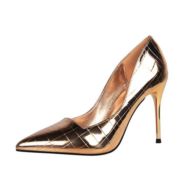 Champagne Metallic Heels Pointy Toe Stiletto Heel Pumps for Work image 2
