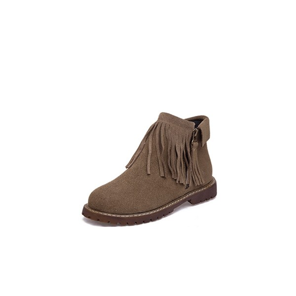 Brown Vintage Boots Round Toe Fringe Suede Ankle Boots image 1