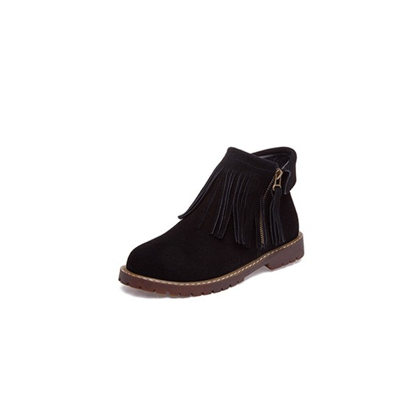 Black Flat Ankle Boots Round Toe Fringe Suede Short Boots image 1