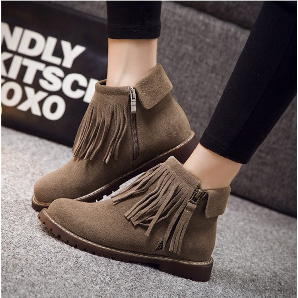 Brown Vintage Boots Round Toe Fringe Suede Ankle Boots image 2