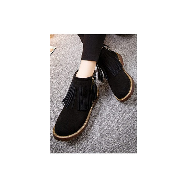 Black Flat Ankle Boots Round Toe Fringe Suede Short Boots image 2