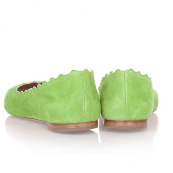 On Sale Lime Green Suede Ballet Flats Round Toe Comfortable Flats image 3