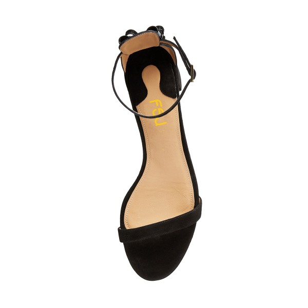 Women's Black Suede Chunky Heel Ankle Strap Sandals image 2