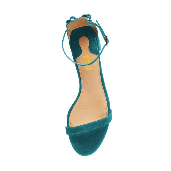 Women's Turquoise Suede Ankle Strap Sandals Chunky Heel Sandals  image 2