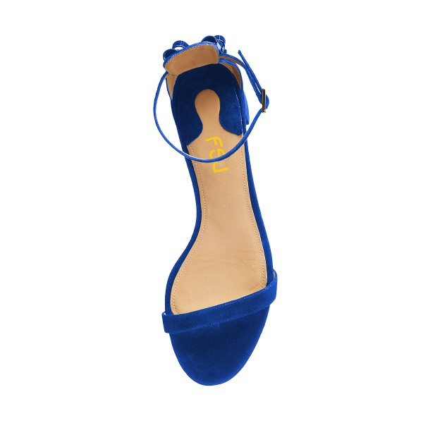 Women's Royal Blue Suede Chunky Heel Ankle Strap Sandals image 4