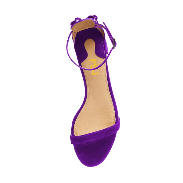 Women's Purple Suede Chunky Heel Ankle Strap Sandals image 2