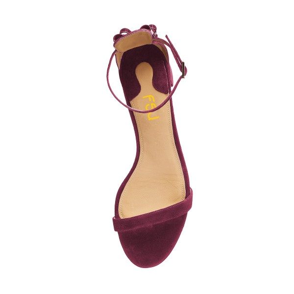 Women's Purple Suede Chunky Heel Ankle Strap Sandals image 4