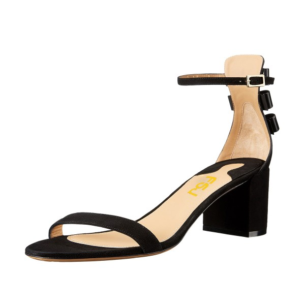 Women's Black Suede Chunky Heel Ankle Strap Sandals image 1