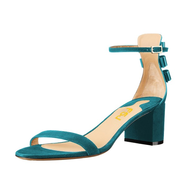 Women's Turquoise Suede Ankle Strap Sandals Chunky Heel Sandals  image 1