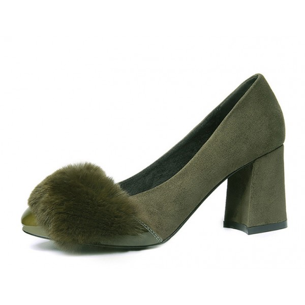 Olive Green Furry Heels Suede Block Heel Office Pumps image 1
