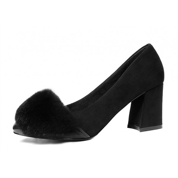 Black Fur Heels Suede and Patent Leather Block Heel Office Pumps image 1