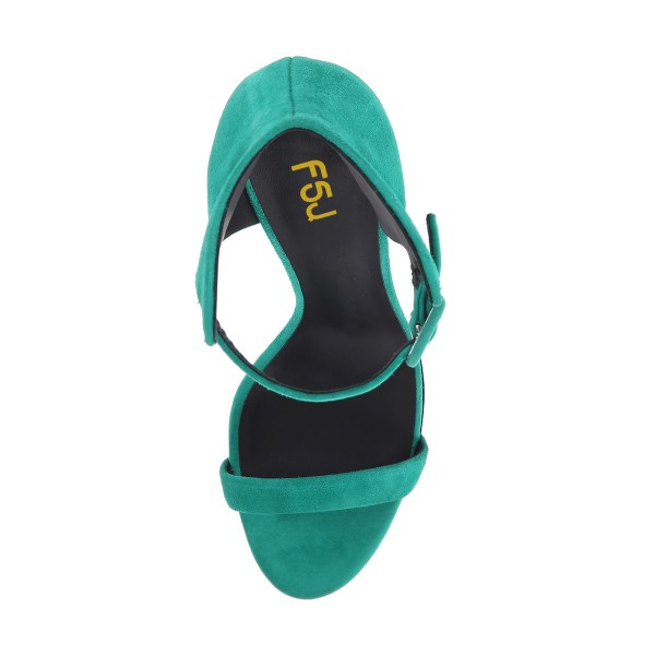 Teal Shoes Suede Wedge Heel Ankle Strap Sandals by FSJ image 3