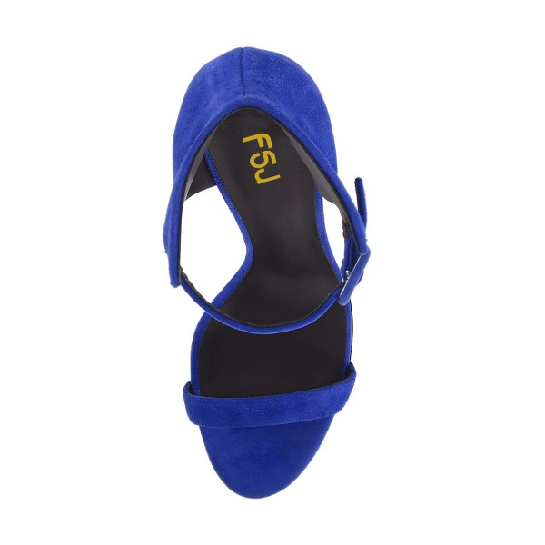 Women's Royal Blue Ankle Strap Wedge Sandals image 2