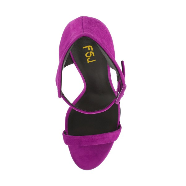 Women's Purple Ankle Strap Wedge Sandals image 2