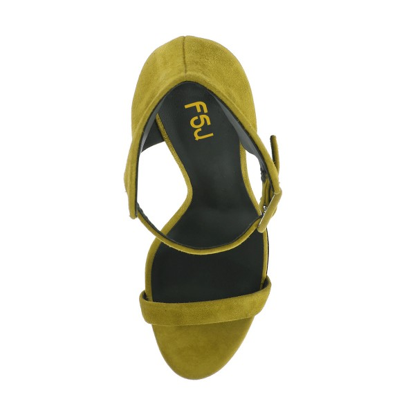 Women's Yellow Ankle Strap Wedge Sandals image 2