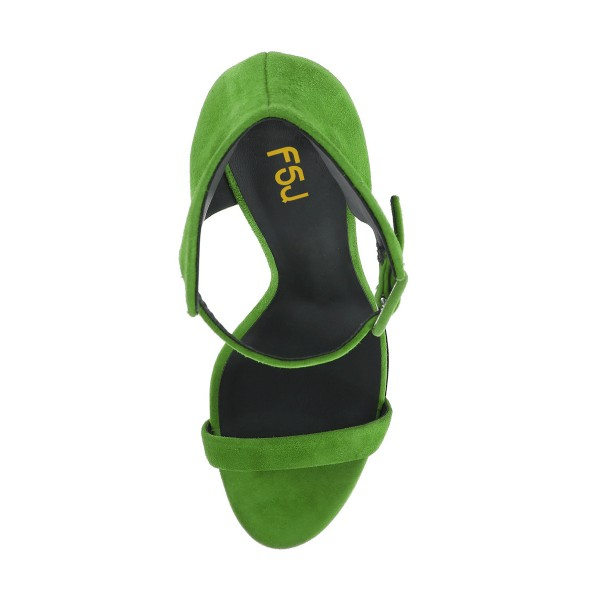 Women's Green Ankle Strap Wedge Sandals image 5