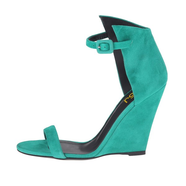 Teal Shoes Suede Wedge Heel Ankle Strap Sandals by FSJ image 4