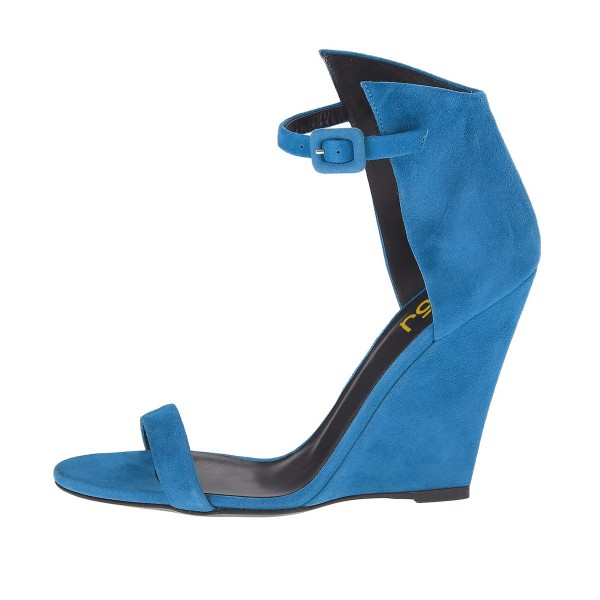 Cobalt Blue Shoes Open Toe Ankle Strap Wedge Sandals for Office Ladies image 4