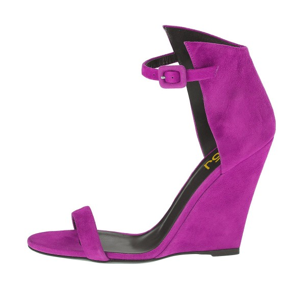 Women's Purple Ankle Strap Wedge Sandals image 4