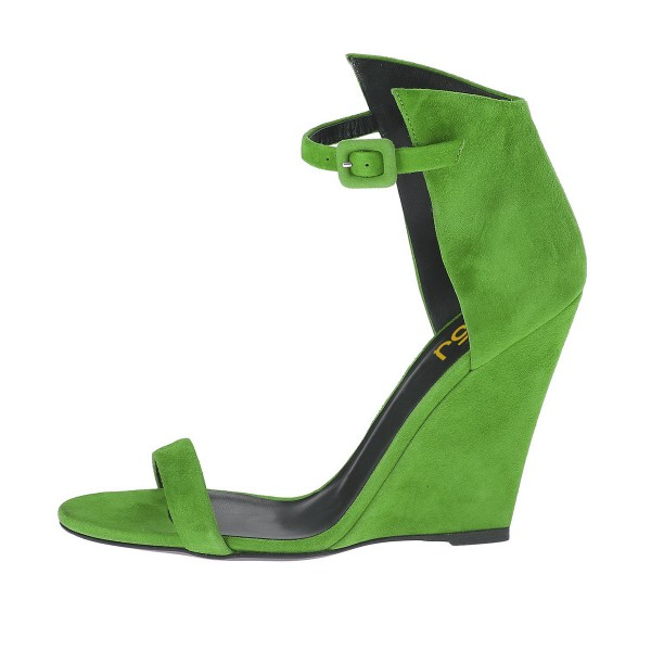 Women's Green Ankle Strap Wedge Sandals image 2
