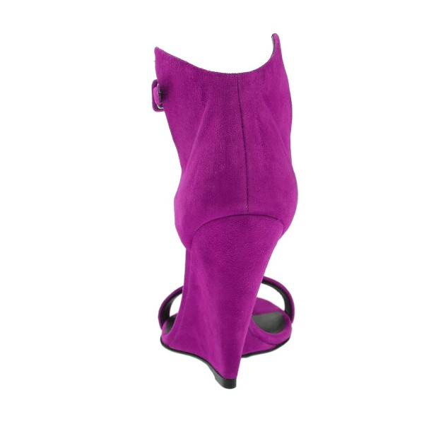 Women's Purple Ankle Strap Wedge Sandals image 3