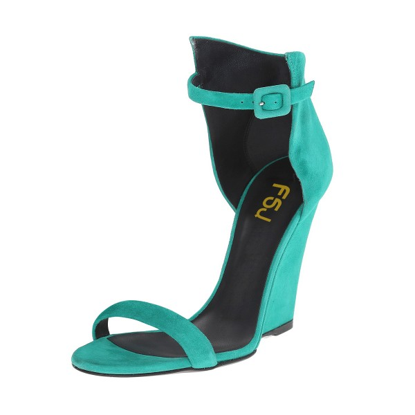 Teal Shoes Suede Wedge Heel Ankle Strap Sandals by FSJ image 1