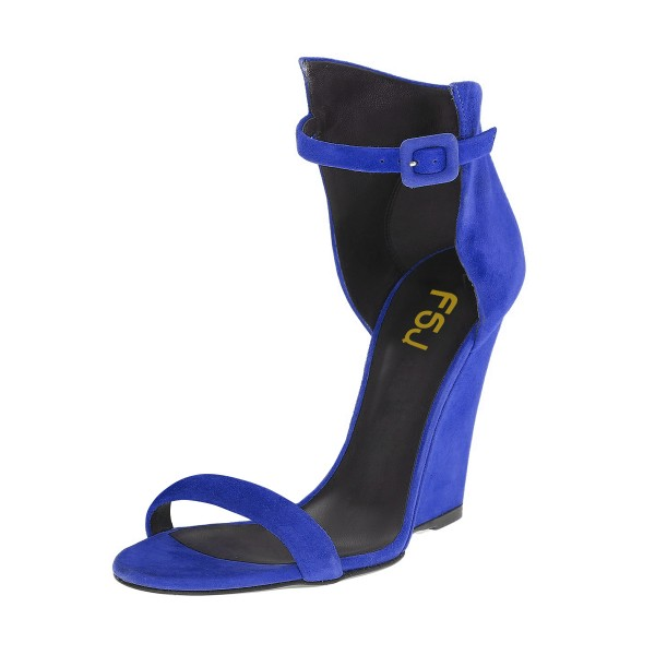 Women's Royal Blue Ankle Strap Wedge Sandals image 1