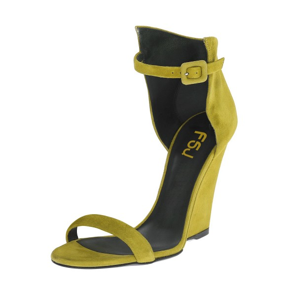 Women's Yellow Ankle Strap Wedge Sandals image 1