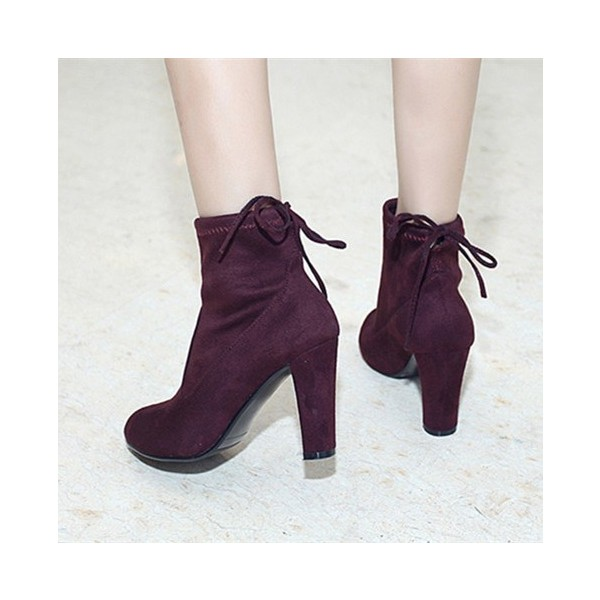 Maroon Chunky Heel Boots Round Toe Suede Ankle Booties for Women image 1