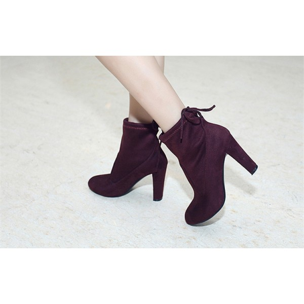 Maroon Chunky Heel Boots Round Toe Suede Ankle Booties for Women image 3