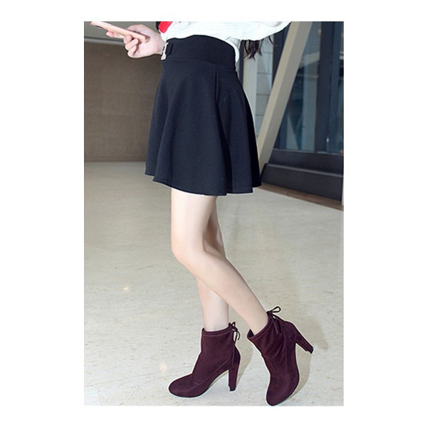 Maroon Chunky Heel Boots Round Toe Suede Ankle Booties for Women image 2