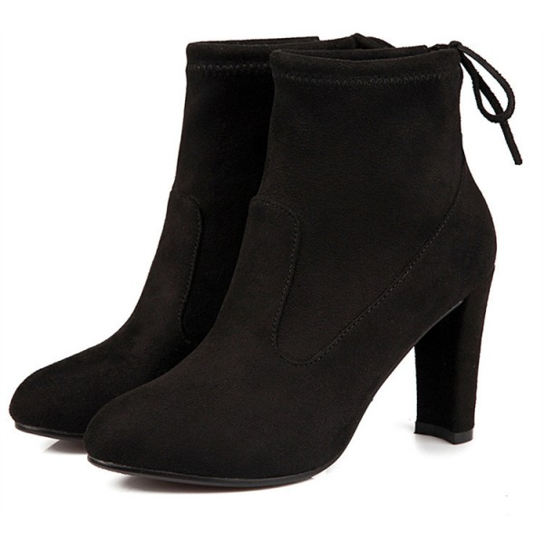 Women's Black Almond Toe Suede Chunky Heel Boots image 3