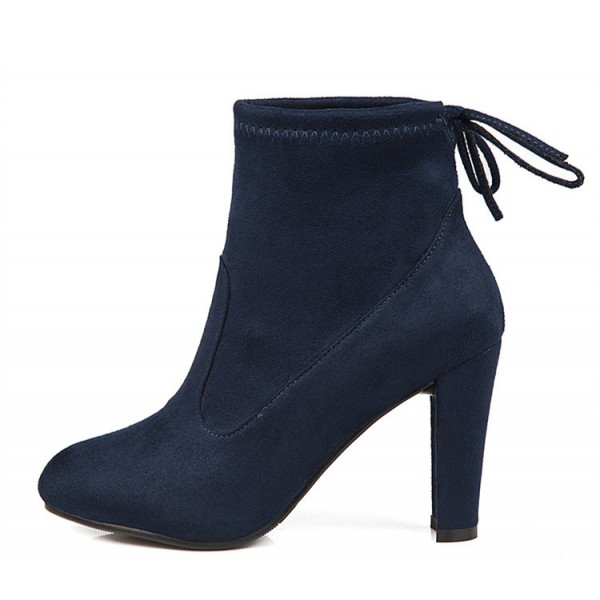 Navy Short Boots Suede Back Lace up Chunky Heel Ankle Booties image 1