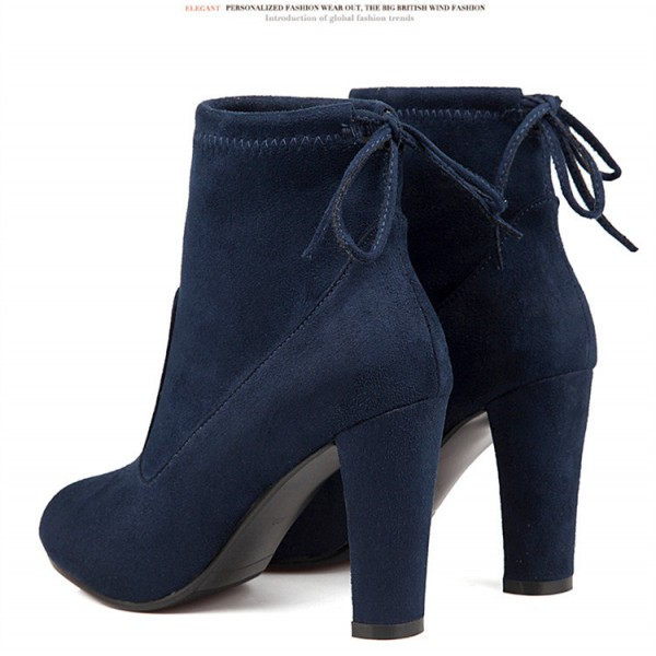Navy Short Boots Suede Back Lace up Chunky Heel Ankle Booties image 2