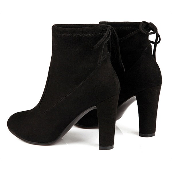 Women's Black Almond Toe Suede Chunky Heel Boots image 2