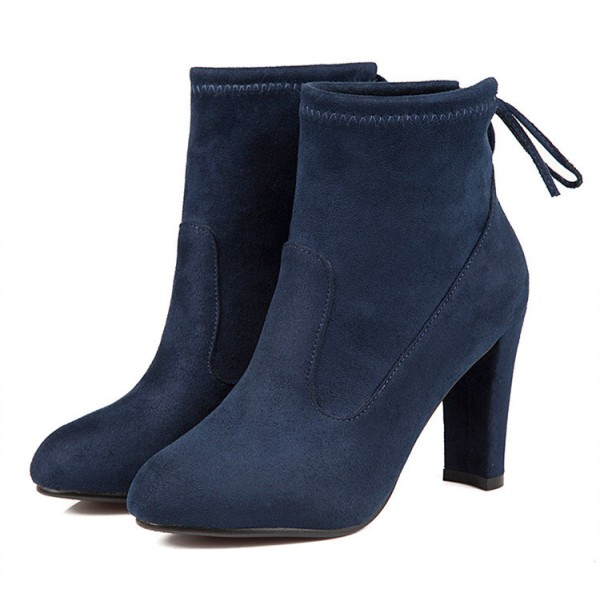 Navy Short Boots Suede Back Lace up Chunky Heel Ankle Booties image 3