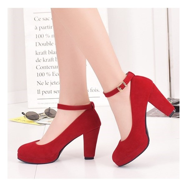 Red Ankle Strap Heels Suede Chunky Heel Pumps image 1