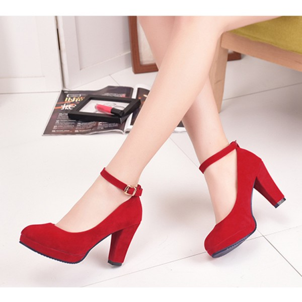 Red Ankle Strap Heels Suede Chunky Heel Pumps image 2
