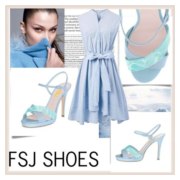 Light Blue Floral Platform Sandals Stiletto Heels Slingback Sandals image 4
