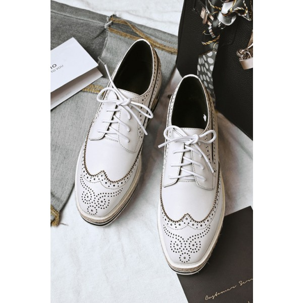 Women's Oxfords White Hollow Out Lace Up Wedge Heels Shoes image 1
