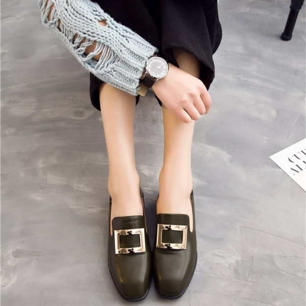 Dark Green Vintage Square Toe Flat Loafers for Women image 1