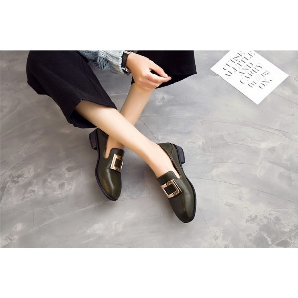 Women's Green Square Toe Commuting Vintage Comfortable Flats image 2